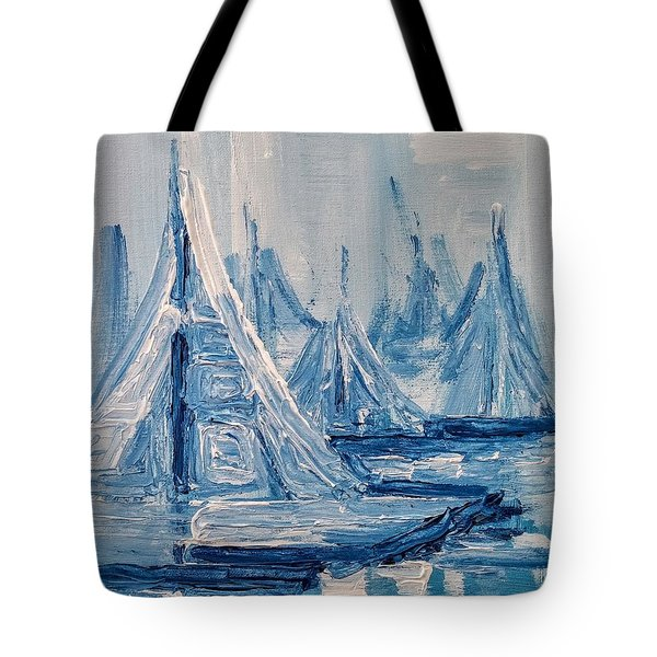 Tote Bag featuring the painting Fog And Sails by Jennifer Hotai