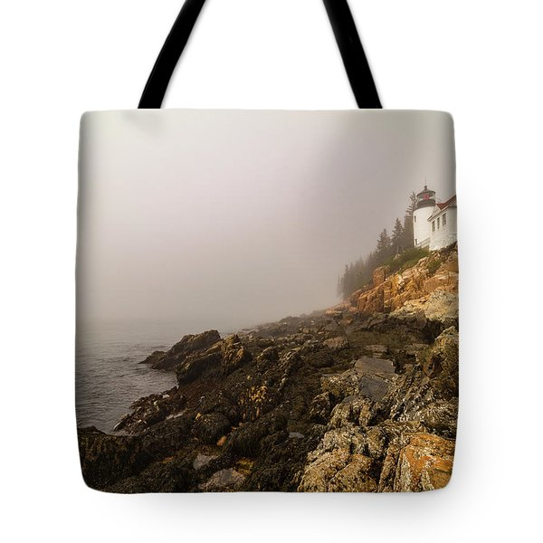 Tote Bag featuring the photograph Fog At Bass Harbor Lighthouse by Jeff Folger