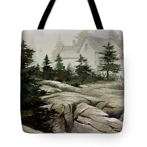 Tote Bag featuring the painting Fog At The Coast by James Williamson