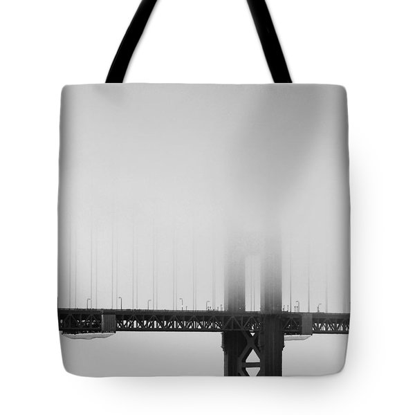 Fog At The Golden Gate Bridge 4 - Black And White Tote Bag