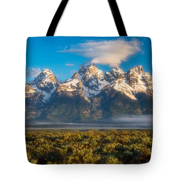 Fog At The Tetons Tote Bag