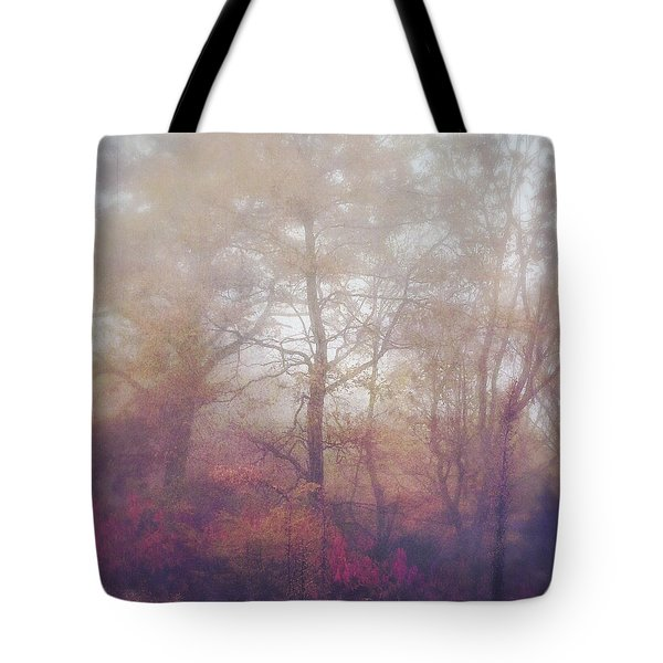 Fog In Autumn Mountain Woods Tote Bag