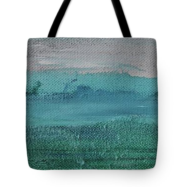 Tote Bag featuring the painting Fog In The Bay by Kim Nelson