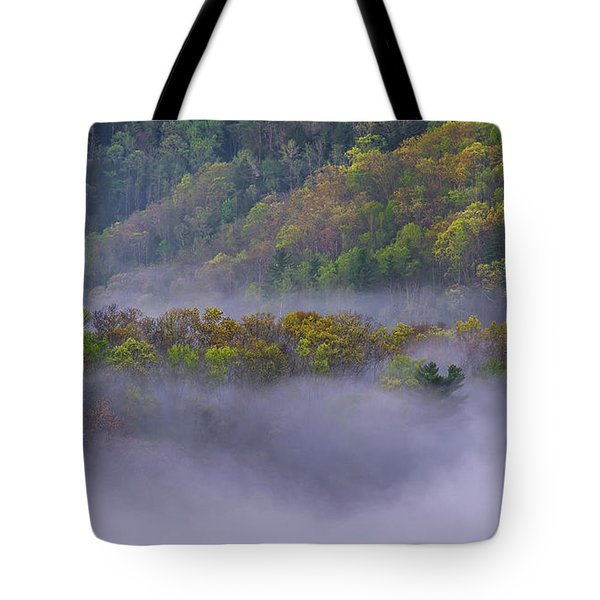 Fog In The Hills Tote Bag by Ulrich Burkhalter
