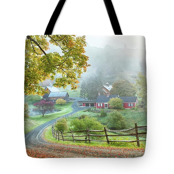 Fog On Sleepy Hollow Farm Tote Bag