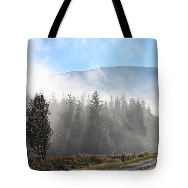 Fog On The Road To Fintry Tote Bag
