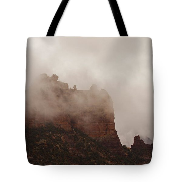 Tote Bag featuring the photograph Fog Over Snoopy Rock by Tom Kelly