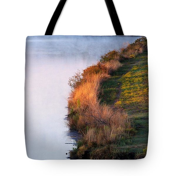 Fog Over The Lake Tote Bag