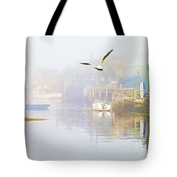 Fog Over West Dover - Digital Paint Tote Bag