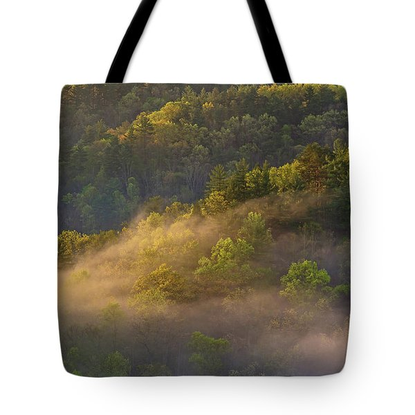 Fog Playing In The Forest Tote Bag by Ulrich Burkhalter