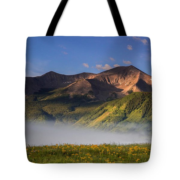 Fog Rolls Through A Meadow Above Crested Butte While Whetstone M Tote Bag