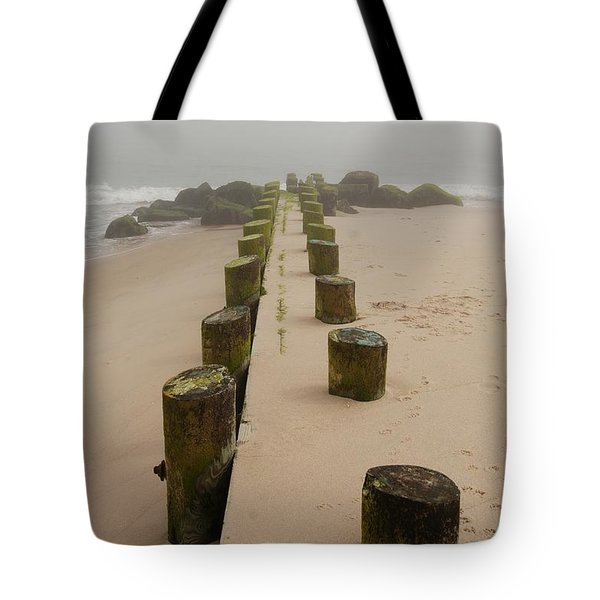 Fog Sits On Bay Head Beach - Jersey Shore Tote Bag