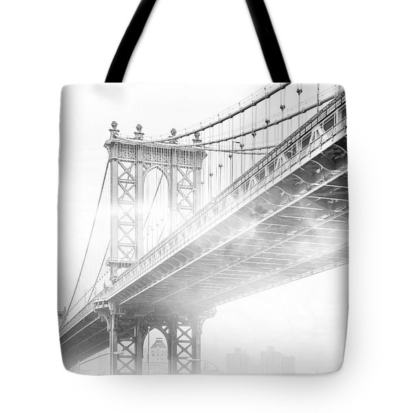 Fog Under The Manhattan Bw Tote Bag by Az Jackson