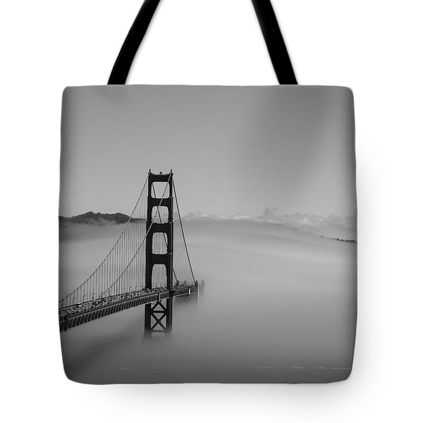 Tote Bag featuring the photograph Fogging The Bridge by David Bearden