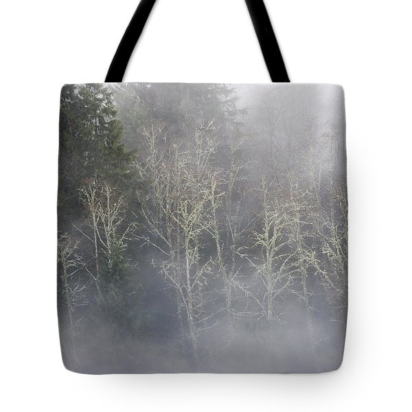 Foggy Alders In The Forest Tote Bag