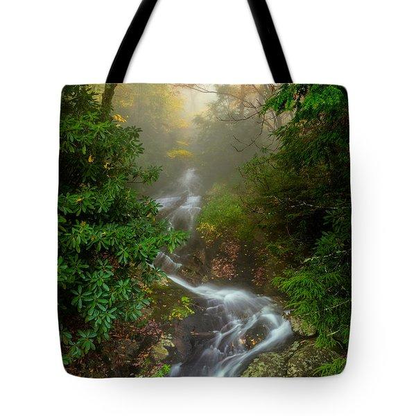 Foggy Autumn Cascades Tote Bag