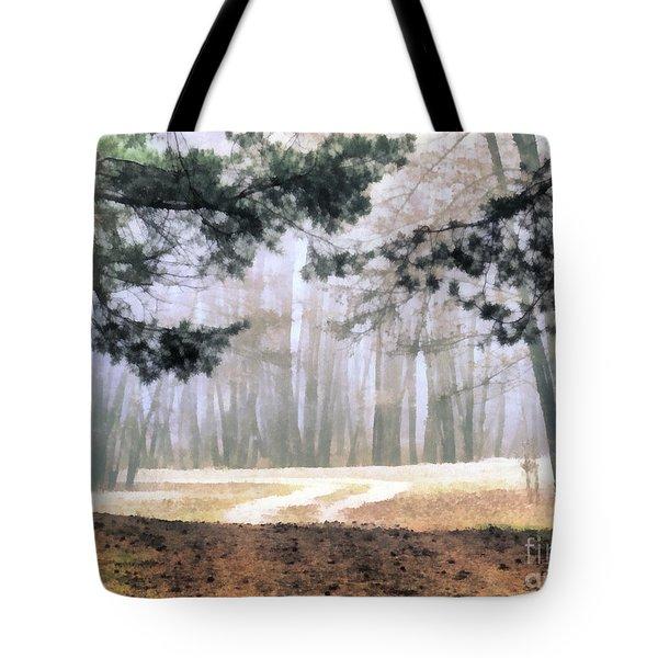Foggy Autumn Landscape Tote Bag