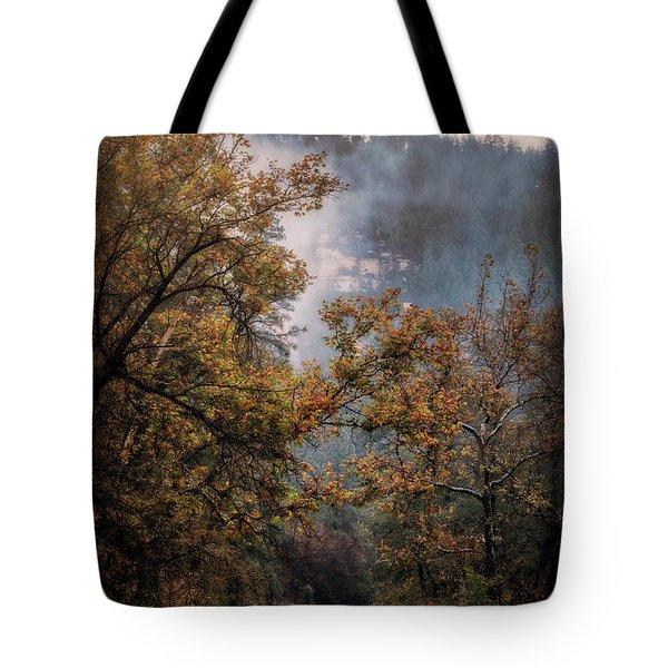 Tote Bag featuring the photograph Foggy Autumn Road  by Saija Lehtonen