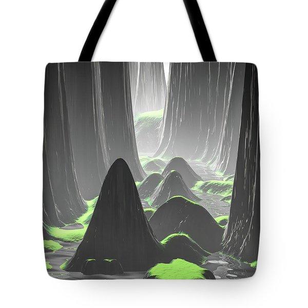 Foggy Canyon Walls Tote Bag
