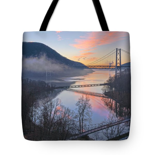 Foggy Dawn At Three Bridges Tote Bag