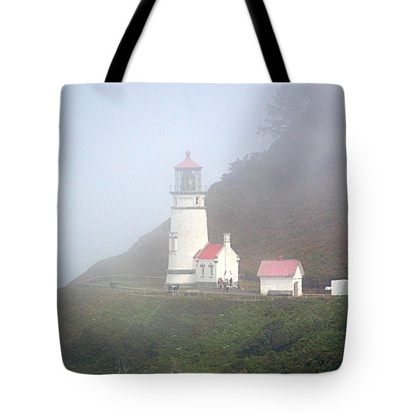 Tote Bag featuring the photograph Foggy Day At The Heceta Head Lighthouse by AJ Schibig