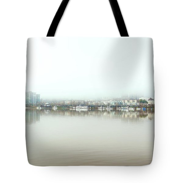 Foggy Day On Portland Downtown Waterfront Tote Bag