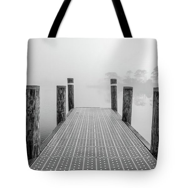 Tote Bag featuring the photograph Foggy Dock In Alabama  by John McGraw
