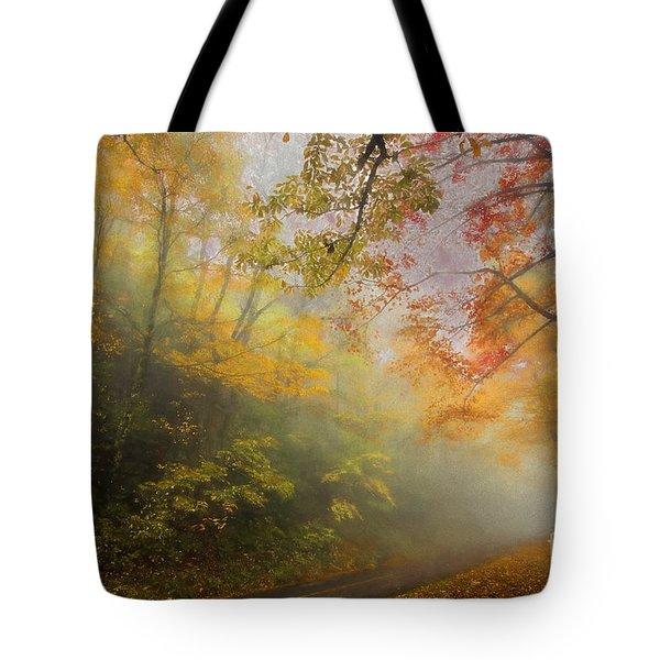 Foggy Fall Foliage II Tote Bag