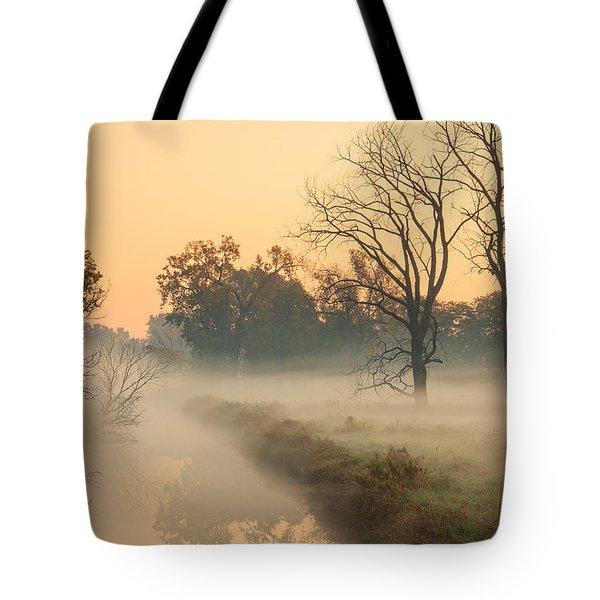 Foggy Fall Morning On Gary Avenue Tote Bag