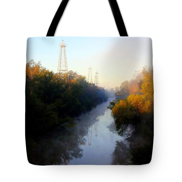 Foggy Fall Morning On The Sabine River Tote Bag