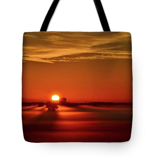 Foggy Farmlands Sunrise Tote Bag