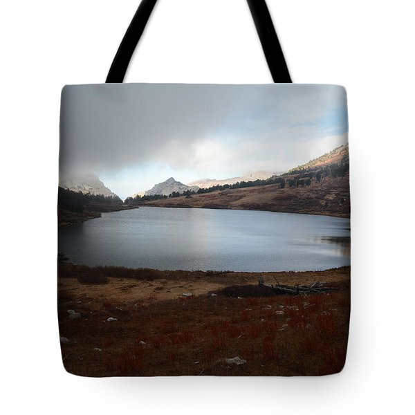 Foggy Favre Lake Tote Bag by Jenessa Rahn