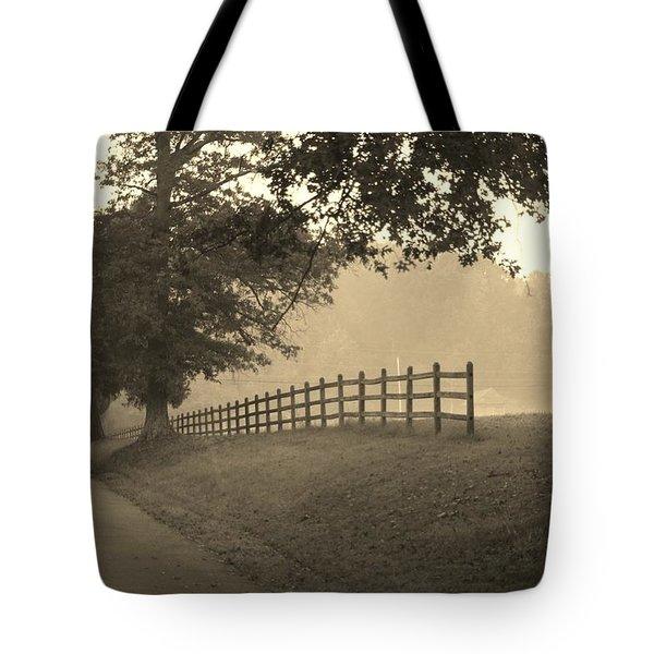 Foggy Fence Line Tote Bag