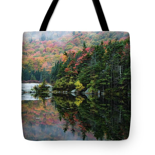 Tote Bag featuring the photograph Foggy Foliage Morning Kinsman Notch by Jeff Folger