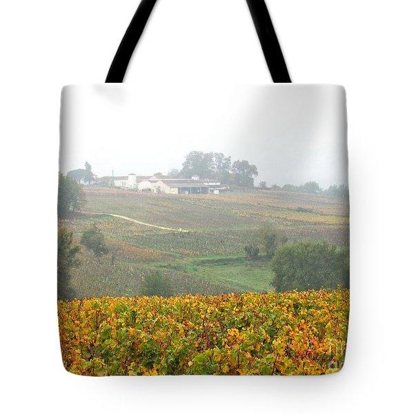 Foggy French Vineyard Tote Bag