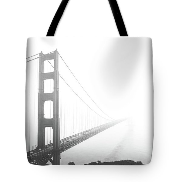 Tote Bag featuring the photograph Foggy Golden Gate Bridge  by MGL Meiklejohn Graphics Licensing