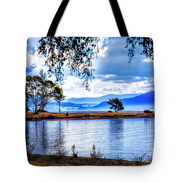 Foggy Hills And Lakes Tote Bag