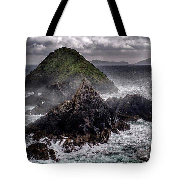 Foggy Islands In Western Ireland Tote Bag