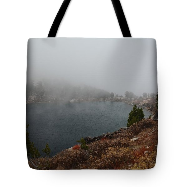 Foggy Liberty Lake Tote Bag by Jenessa Rahn