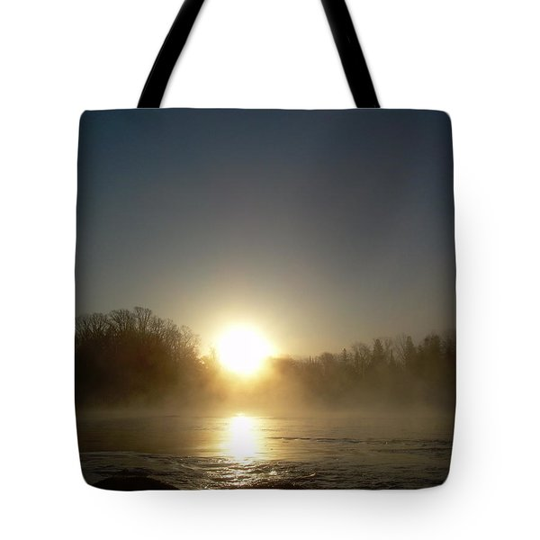 Tote Bag featuring the photograph Foggy Mississippi River Sunrise by Kent Lorentzen