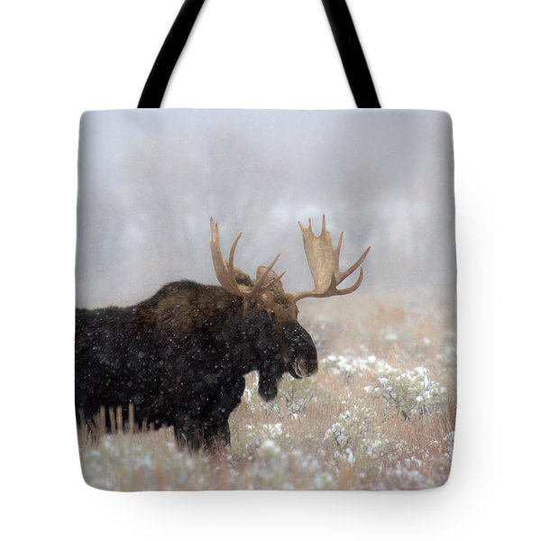 Tote Bag featuring the photograph Foggy Moose Silhouette by Adam Jewell