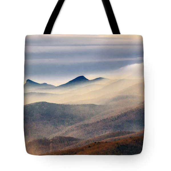 Tote Bag featuring the photograph Foggy Morning At Hawksbill And Table Rock by Ken Barrett