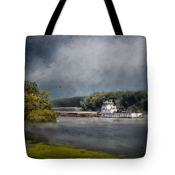 Foggy Morning At The Barge Harbor Tote Bag