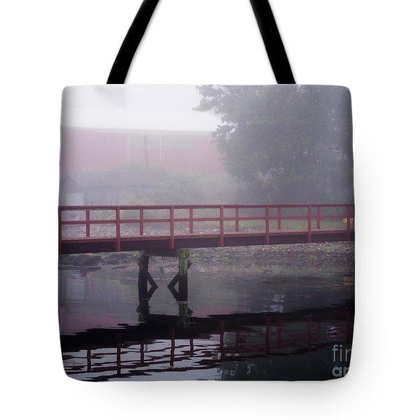 Foggy Morning At The Bridge Tote Bag