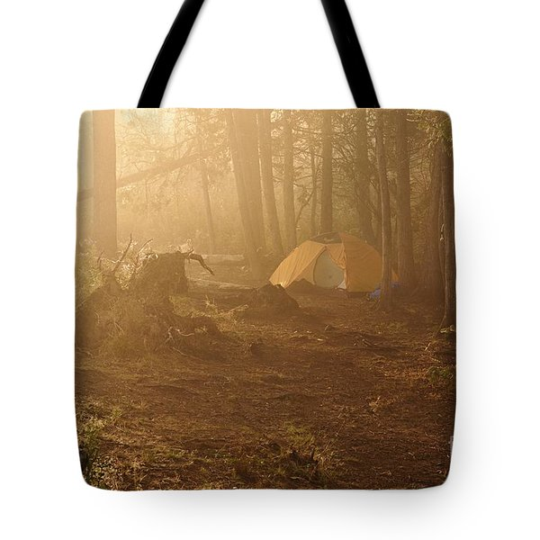 Tote Bag featuring the photograph Foggy Morning At The Campsite by Larry Ricker