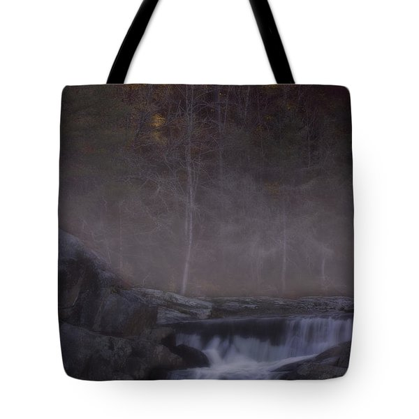 Tote Bag featuring the photograph Foggy Morning At Linville Falls by Ellen Heaverlo