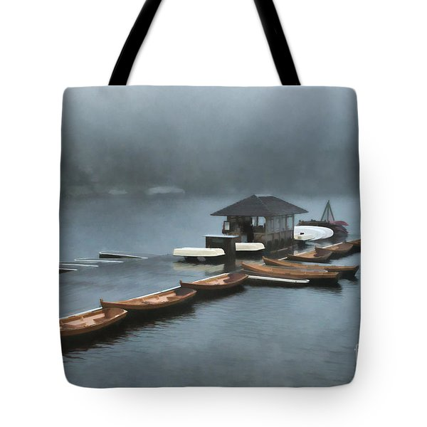 Foggy Morning At The Lake  Tote Bag by Judy Palkimas