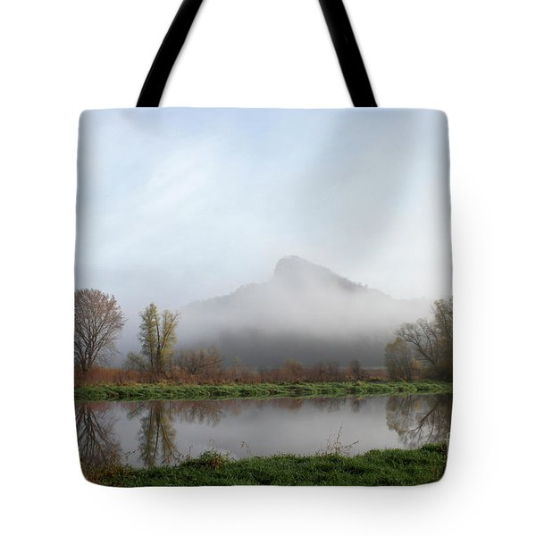 Foggy Morning Bluff Tote Bag