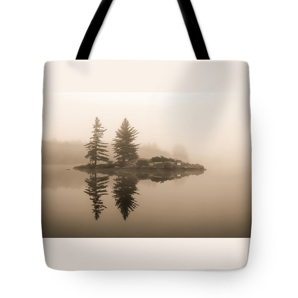 Foggy Morning Caution Tote Bag