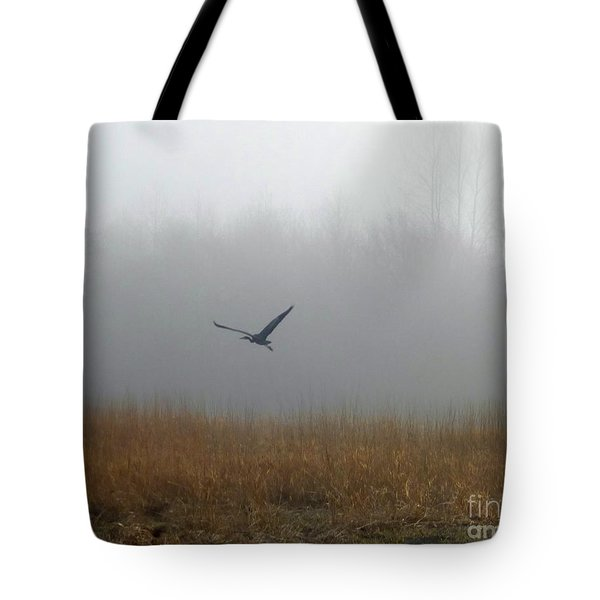 Foggy Morning Heron In Flight Tote Bag by Helen Campbell